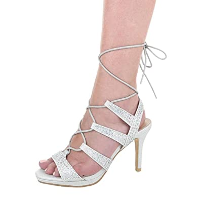 Cingant Woman Damen Sandalette/Absatz/Sommerschuhe/Damenschuhe/Elegante Damenschuhe/High Heels/Silber, EU 35