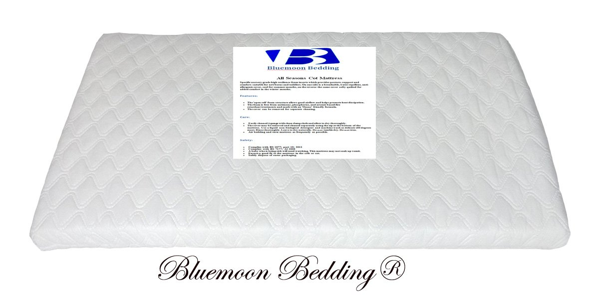 Bluemoon Bedding® SAPLINGS KATIE CRIB SAFETY MATTRESS 73 x 35 CM (Square Corners) Quilted cover