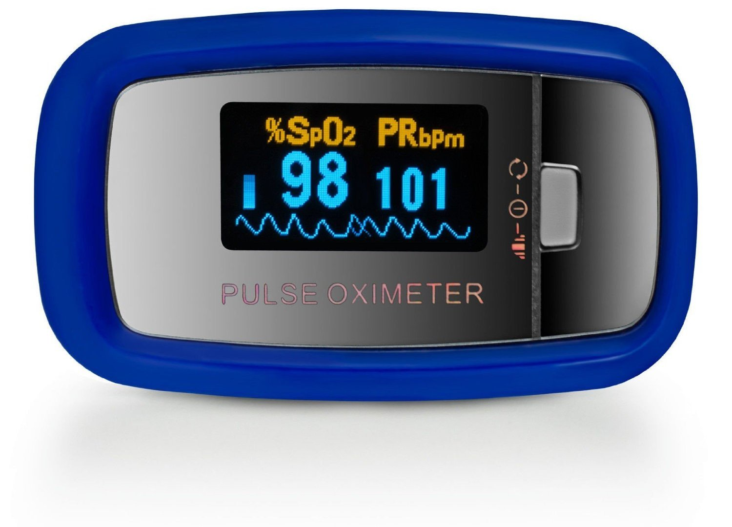AccuMed CMS-50D1 Finger Pulse Oximeter Blood Oxygen Sensor SpO2 for Sports and Aviation. Portable and Lightweight with LED Display, 2 AAA Batteries, Lanyard and Travel Case Blue