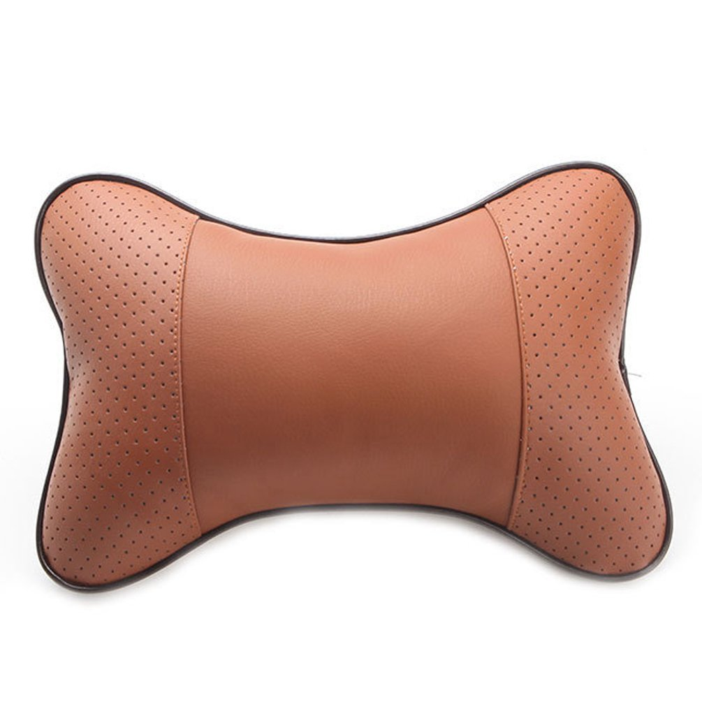 MissFox Auto Testa del Collo Resto Cuscino Respirare PU pelle Poggiatesta Cuscino 2 Pcs Nero