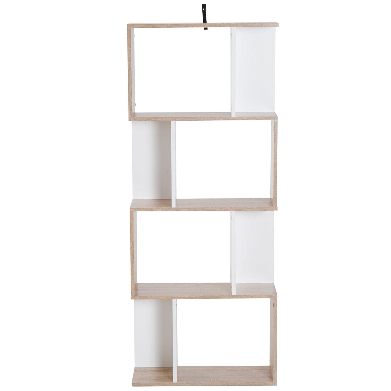 homcom Libreria di Design Scaffale Ufficio Legno Moderna 4 Ripiani 60× 24× 148cm Aosom Italy