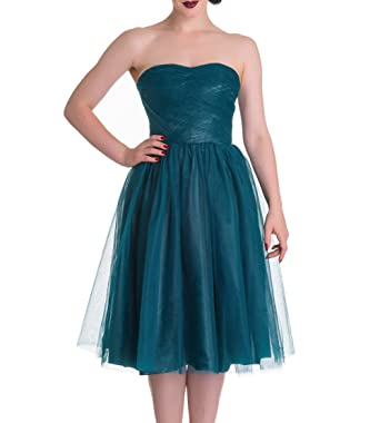 HELL BUNNY Strapless Party Prom Dress TAMARA Net ~ Teal Blue XS 8