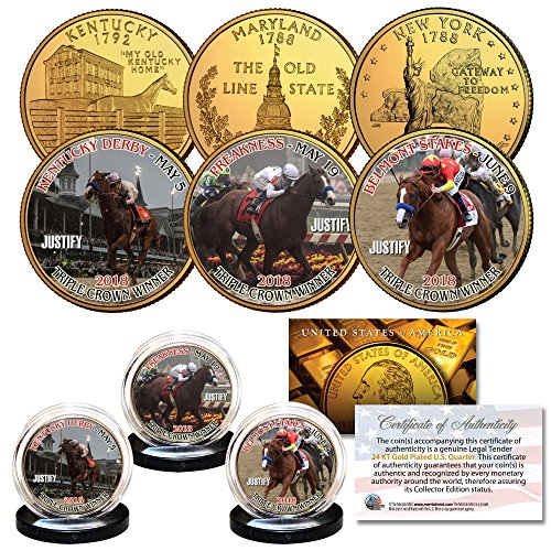 - JUSTIFY Triple Crown KY/MD / NY State Quarters 24K Gold Plated 3-Coin Set