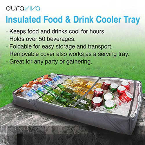 Duraviva Insulated Food & Drink Party Serving Tray Portable Foldable Cooler for Beverages, Buffet, Picnic, BBQ, Salad Seafood Bar by Duraviva (Image #7)