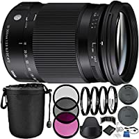 Sigma 18-300mm f/3.5-6.3 DC MACRO OS HSM Contemporary Lens for Canon EF Bundle with Manufacturer Accessories & Accessory Kit (23 Items)