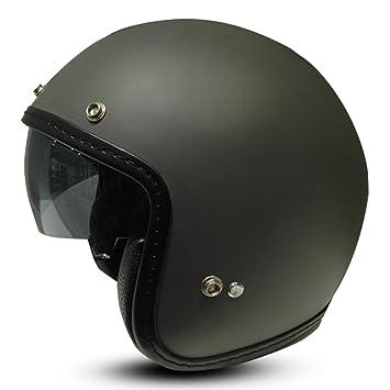 Zoan 3/4 de puntos Negro abierto cara Retro Calle motocicleta casco w/visera