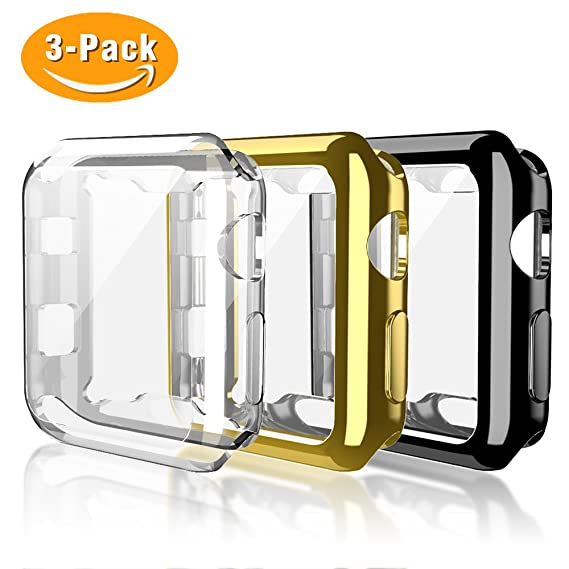 Haojavo for Apple Watch Case 38mm 3 Pack, for iWatch Screen Protector TPU All-Around Full Front Protective Case for Apple Watch Series 3, Series 2 ...