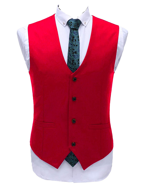 Lilis Men's Business V-Neck Sleeveless Slim Fit Jacket Casual Suit Vests