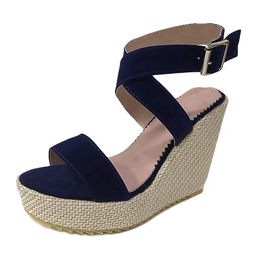 1908f8b8cee49 Tomwell Sandalias Mujer Moda Leopardo Plataforma Peep Toe Romanas Sandals  Casual Transpirable Tacón de Cuña Planas Hebilla Zapatos  Amazon.es  Zapatos  y ...