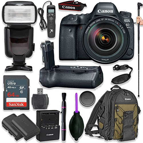 Canon EOS 6D Mark II DSLR with EF 24-105mm f/4L is II USM Lens with Pro Camera Battery Grip, Professional TTL Flash, Deluxe Backpack 200EG, Spare LP-E6 Battery (17 Items)