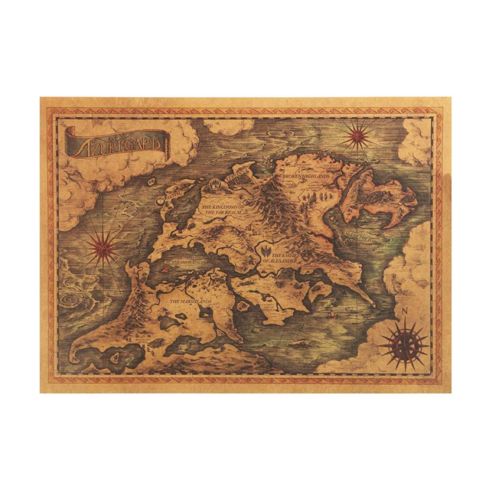 Juego De Tronos Mapa Vintage Cartel de Papel Kraft Interior ...