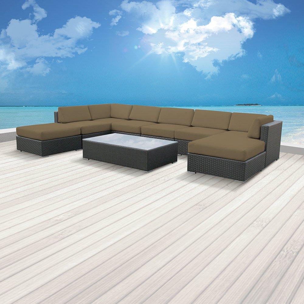 Luxxella Patio Mallina Outdoor Wicker Furniture 9-Piece All Weather Couch  Sof: Amazon.ca: Patio, Lawn & Garden