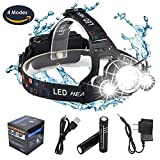 8000 lumen light - DABASO Rechargeable Headlamp,Adjustable Headband and 90 Degree Moving Light,8000 Lumen Waterproof LED Headlight with 4 Brightness Modes for Running Camping Cycling Fishing Hunting Climbing
