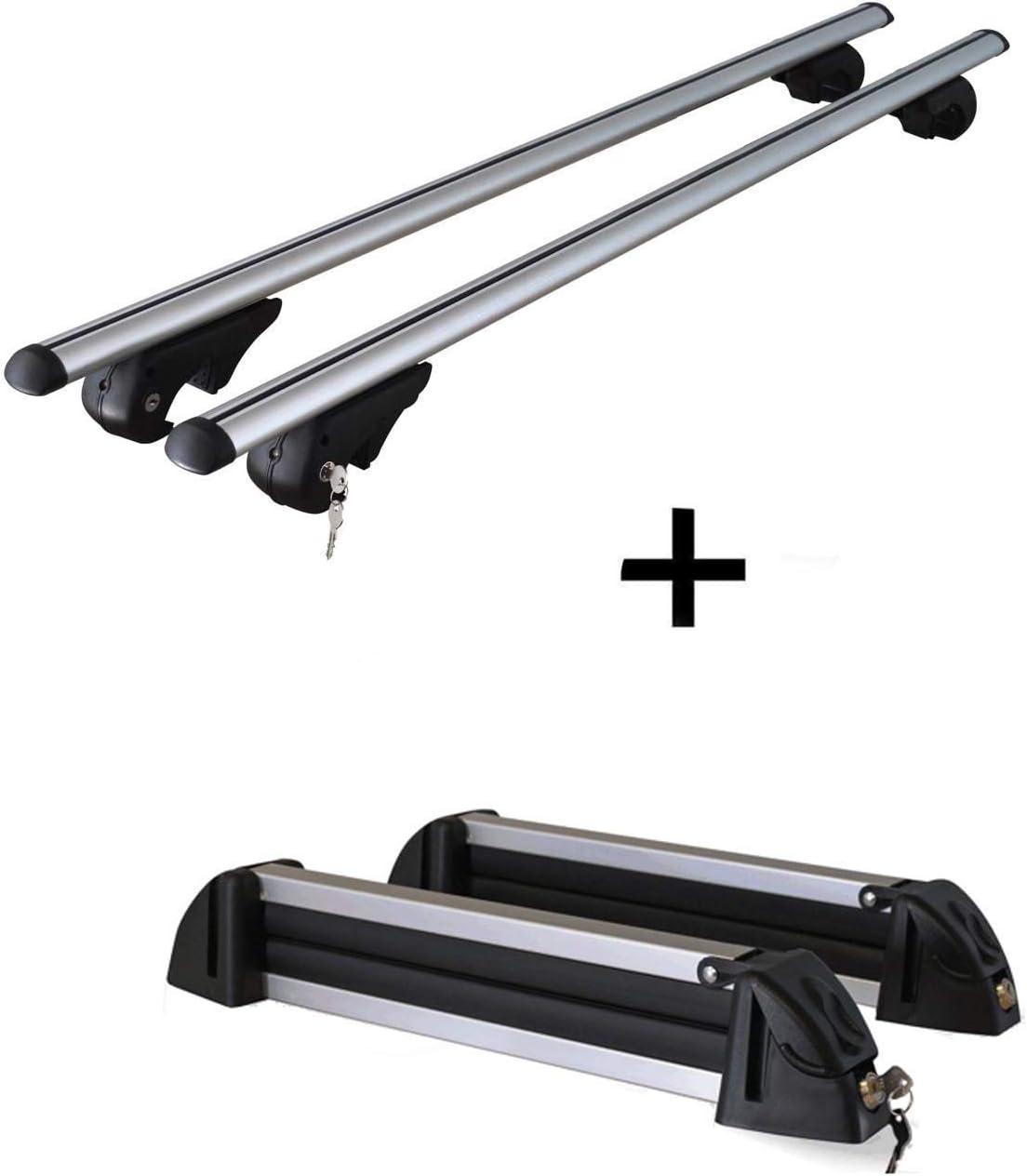 Skitr/äger//Snowboardtr/äger//Skihalter Alu 4 Paar Ski kompatibel mit VW Passat Variant 3C 05-10 VDP Dachtr/äger Rio 120