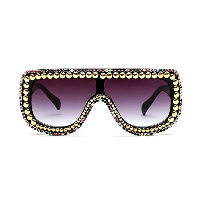 3738721f51a MINCL Large Oversized Square Geometric Shine Style Diamond Women Sunglasses  (colorful rivet-black
