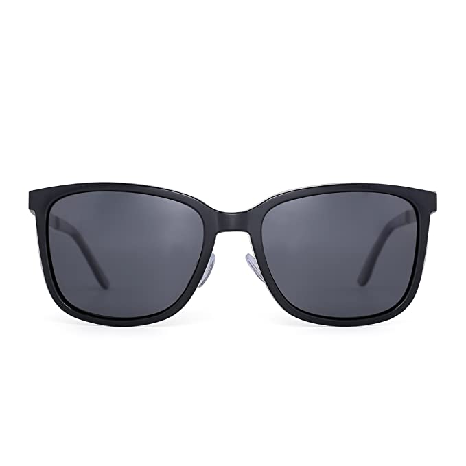 JIM HALO Gafas de Sol Polarizadas Peso Ligero Vintage Gradiente Anteojos Mujer Hombre(Brillante Negro