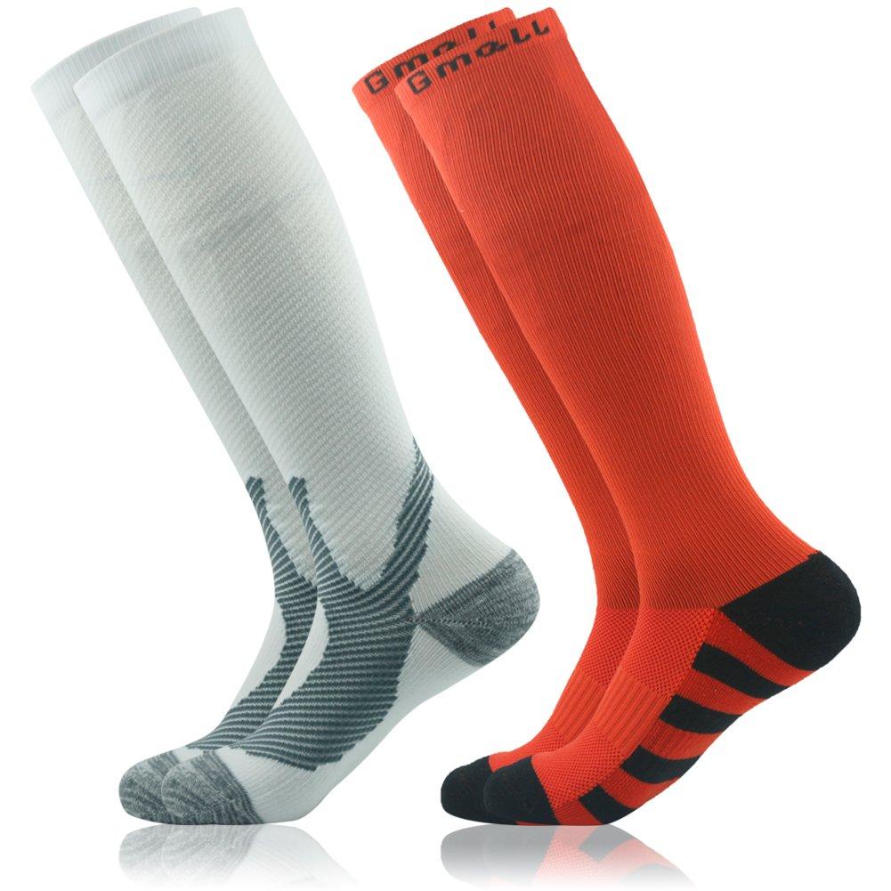 Gmall SOCKSHOSIERY メンズ  Q /Red & White/ 2 Pairs B06XFNF4C4
