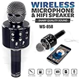 Pushkar Wster WS-858 Rechargeable Wireless Karaoke Inbuilt Speaker with Audio recording and Bluetooth Microphone (Black)