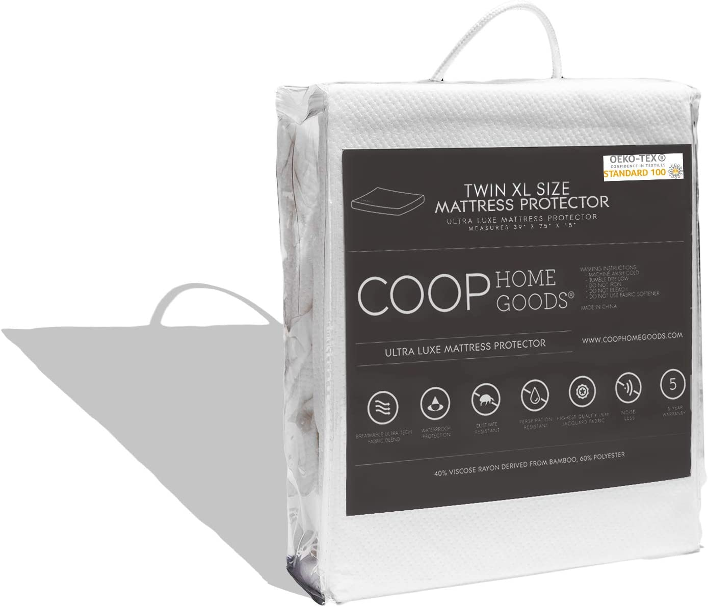 COOP HOME GOODS - Mattress Protector - Waterproof and Hypoallergenic - Soft and Noiseless Lulltra Fabric from Bamboo Derived Rayon - Protection Against fluids - Oeko-TEX Certified - Twin XL
