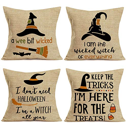 Fukeen Set of 4 Halloween Throw Pillow Covers Black Witches Hat with Scary and Spooky Halloween Quotes Saying Decorative Pillow Cases Broom Candies Bat Farmhouse Decor Cotton Linen Pillowslip