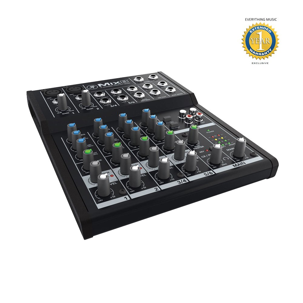 Mackie Mix8 8-Channel Compact Mixer with 1 Year EverythingMusic Extended Warranty Free Loud Technologies Inc.