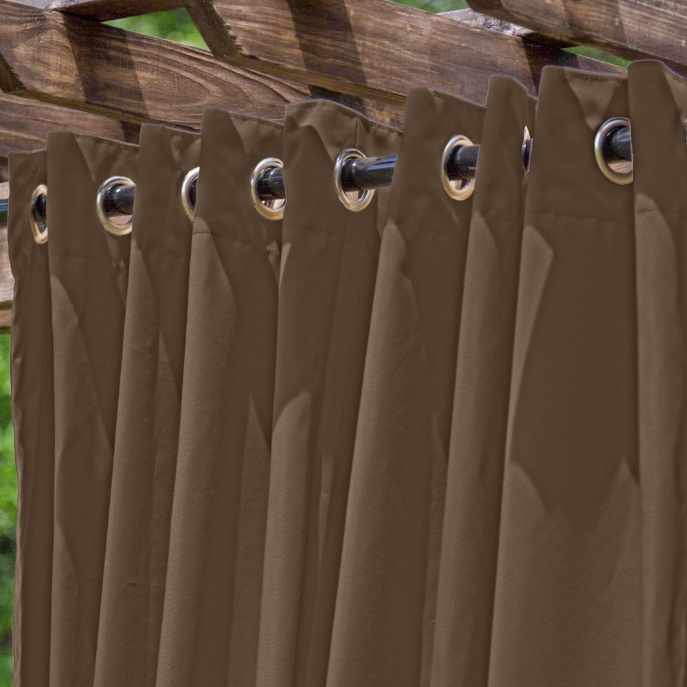 DFOHome Light Brown Extra Wide Outdoor Curtain with Nickel Grommets 120'' W x 84'' L by Essentials by DFO