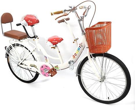 OUKANING Rueda Plegable Portátil DE 22 Pulgadas para Bicicleta de Alta Carbono de 3 Plazas para Familia, Blanco: Amazon.es: Deportes y aire libre