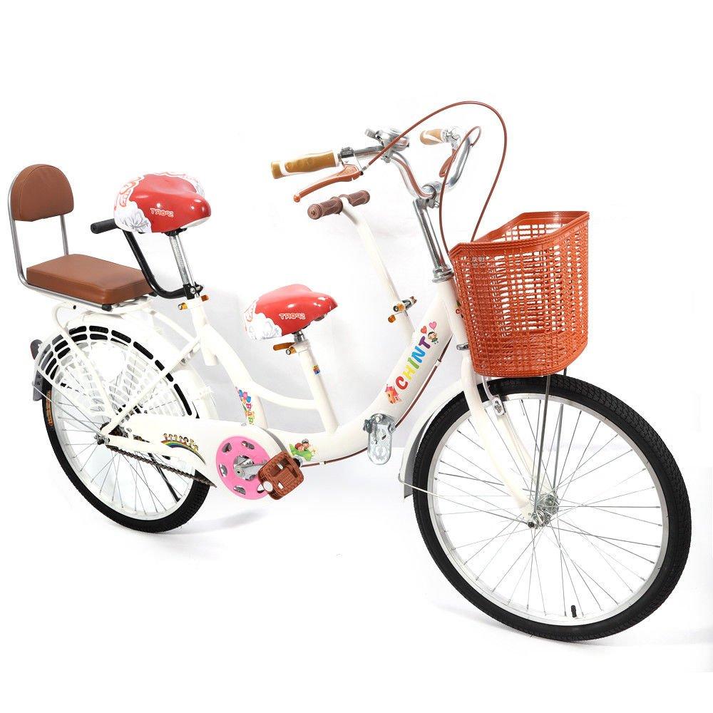 OUKANING Tragbar Faltbar 55,9cm Laufrad Tandem Fahrrad Bike kohlenstoffreicher Stahl 3SEATERS für Familie UK gelb