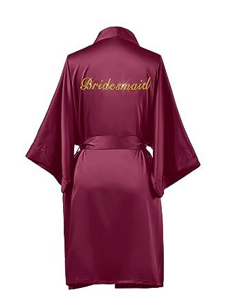 76e1aa5f2dcc AW Womens Premium Satin Robe Short Kimono Robe V-Neck Soft Bathrobe  Sleepwear Solid Color