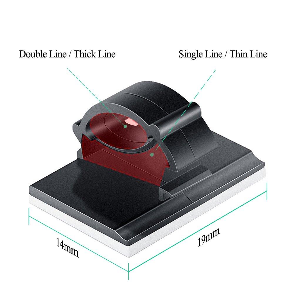 Clips de Cable Ajustable, Invool Black Clips de alambre adhesivo de plástico perfectos para la administración de cables en el hogar, la oficina y el ...