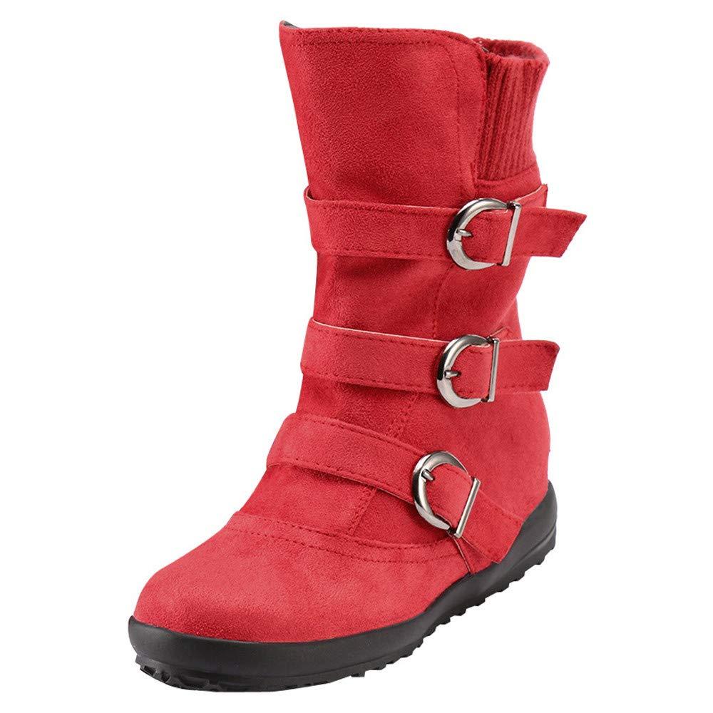 JURTEE Damen Langschaft Stiefel Wildleder Runde Zehe Reiß verschluss Flache Reine Farbe Schnalle Halten Warme Schneeschuhe Schlupfstiefel JUTREE-boots damen