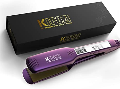 KIPOZI Professional Hair Straighteners 1.75 Inch Wide Plate Titanium Flat Iron with Digital LCD Display, Purple