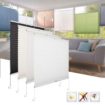 BelleMax Rollo Plissee Ohne Bohren Sonnen Und Sichtschutz EasyFix Jalousie Inkl Befestigungsmaterial Weiss 80x200