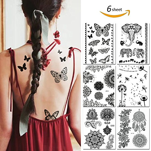Black Henna Temporary Tattoo Stickers Henna Body Paints Designs for Women Girls (Pack of 8 Sheets)