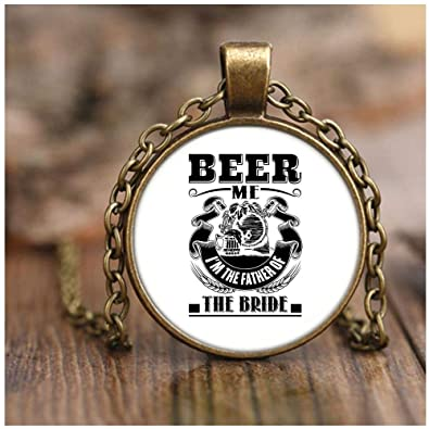 267aa0b0 CARONECK I Love Beer Necklace Antique Brass, Funny Beer Lover Necklaces  (Necklace - Antique