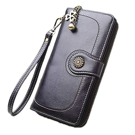 8d2052813f52 Amazon.com: JNCLEO Vintage Oil Wax Leather Wallets Women Long Purse ...