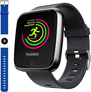 Smart Watch, Sport Waterproof Smartwatch, Fitness Tracker with Heart Rate Blood Pressure,Blood Oxygen, Sleep Monitor,Message Call Reminder Smart Watch for Men Women Kids, Compatible for iphone/Android