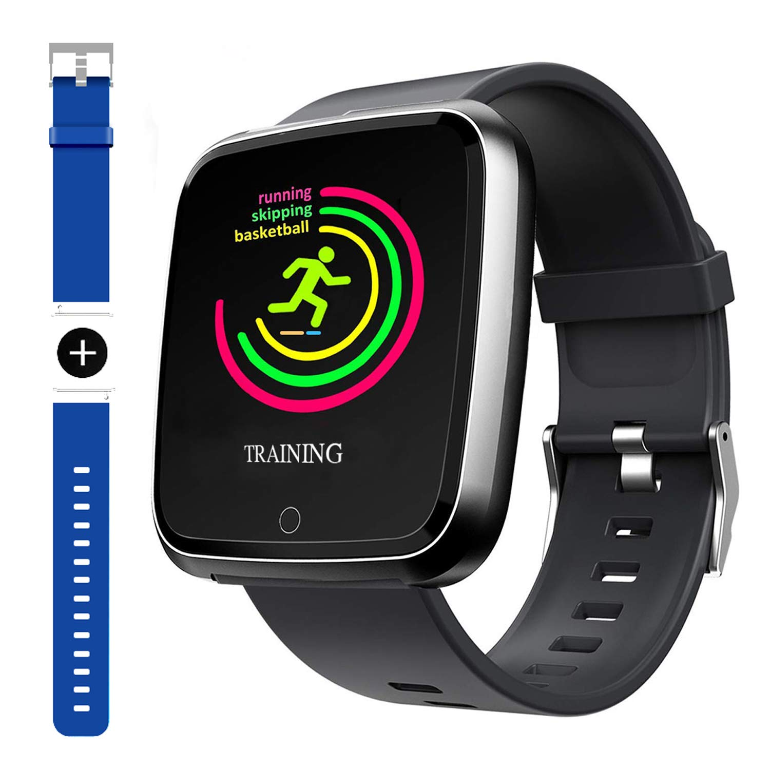 Smart Watch, Sport Waterproof Smartwatch, Fitness Tracker with Heart Rate Blood Pressure,Blood Oxygen, Sleep Monitor,Message Call Reminder Smart Watch for Men Women Kids, Compatible for iphone/Android by GARINEMAX