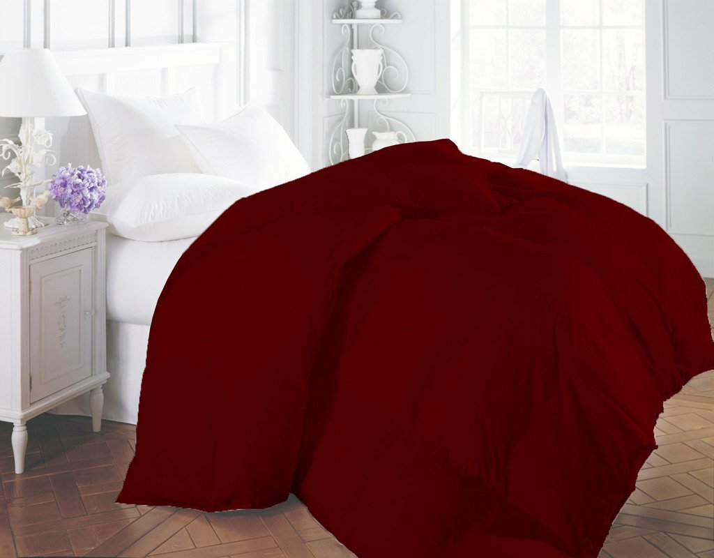 1200 TC Egyptian Cotton All Season Down Alternative Comforter Duvet Hypoallergenic Double Brushed for Superior Softness Maroon Twin By BED ALTER Solid (200 GSM Microfibre filling)