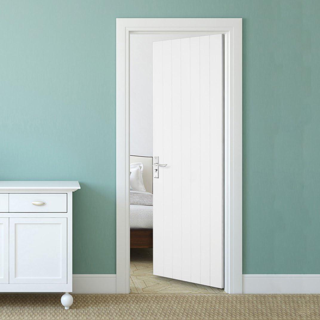 Tuff Concepts – interior blanco MDF puertas vertical 5 Panel moldeado blanco con textura suave Premdor puerta: Amazon.es: Bricolaje y herramientas