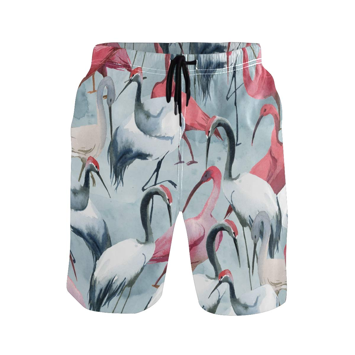 JERECY Mens Swim Trunks Watercolor Crane Pattern Quick Dry Board Shorts with Drawstring and Pockets