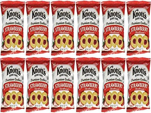 Knott's Berry Farm Premium Strawberry Bite Sized Shortbread Cookies 2 oz Bags - 12-Pack (Strawberry, 12-Pack)