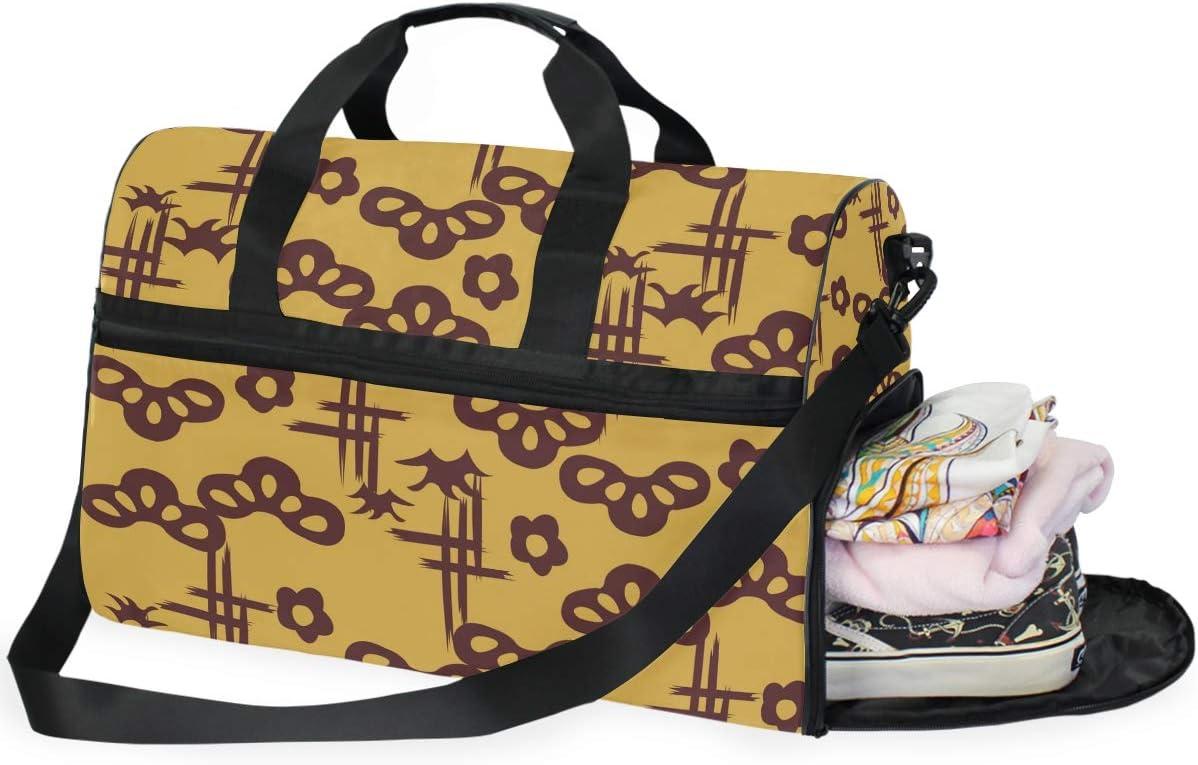 Weekender Bag with Shoes Compartment for Men Women MALPLENA Oriental Style Art Travel Duffel Bag