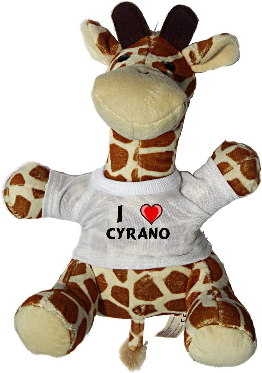 Shopzeus Jirafa de Peluche (Juguete) con Amo Cyrano en la Camiseta (Nombre de Pila/Apellido/Apodo)