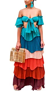 b179ad5ff2f32 Adogirl Womens Sexy 2 Piece Outfit Crop Tube Top Layer Ruffle Maxi ...