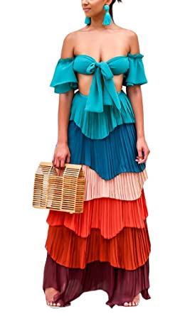ee7dd60292 Yissang Women s Muti Color Strapless Tiered Ruffle Pleated Chiffon Crop  with Maxi Long Skirt Set Dress