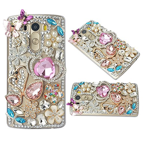 (Spritech(TM Bling Phone Case for LG G2,3D Handmade Silver Crystal Flower Butterfly Swan Pattern Accessary Design Clear Cellphone Cover)