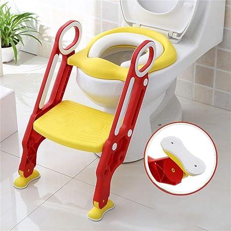 Sinbide Asiento para Inodoro con Pasos, Aseo Escalera Asiento Escalera del tocador de niños Asiento para WC con Escalón Plegable Orinal Formación, Diseño Plegable y de Altura Ajustable (Rojo-Amarillo): Amazon.es: Bebé