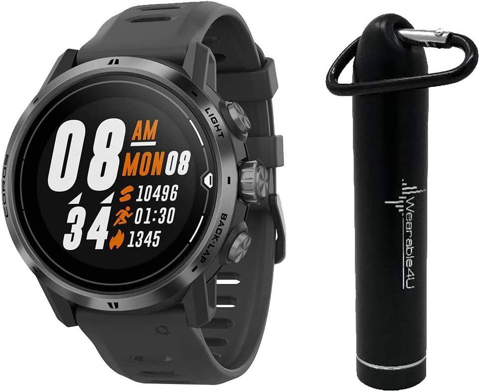 Coros APEX Pro Premium Multisport GPS Watch and Wearable4U Compact Power Bank Bundle (Black)