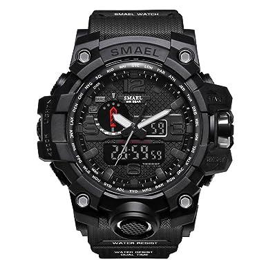 ZRSJ Relojes Hombre 50M waterproof reloj digital inteligente g shock hombre reloj deportivo reloj militar (Negro): Amazon.es: Relojes